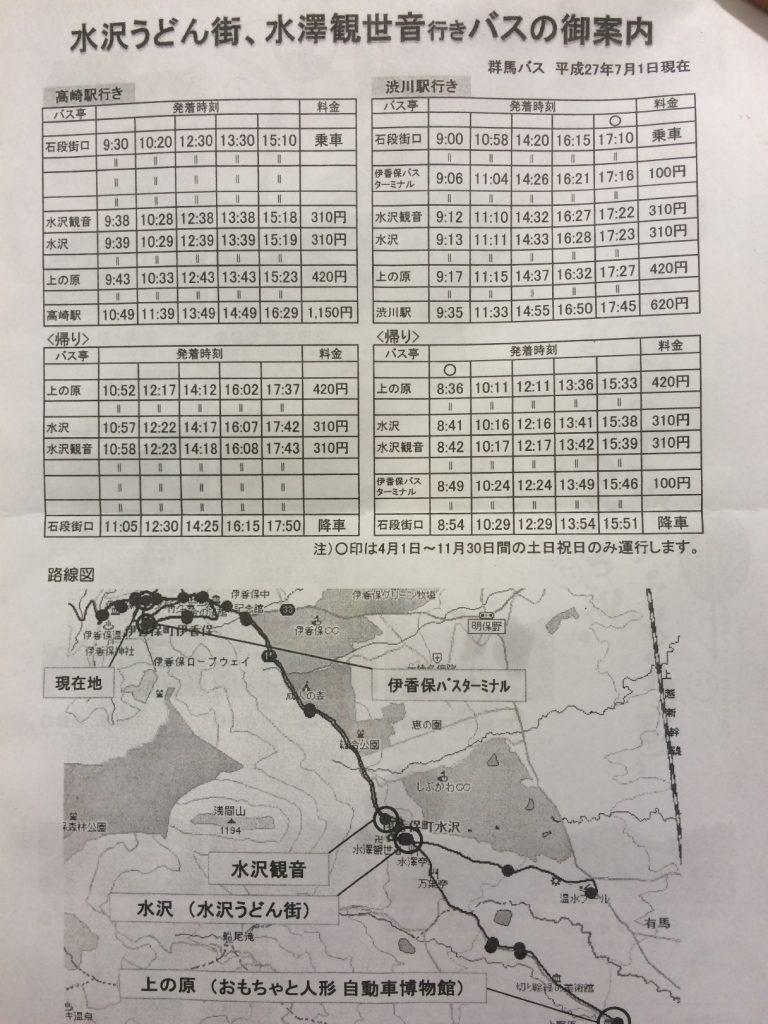 水沢うどん街バス時刻表