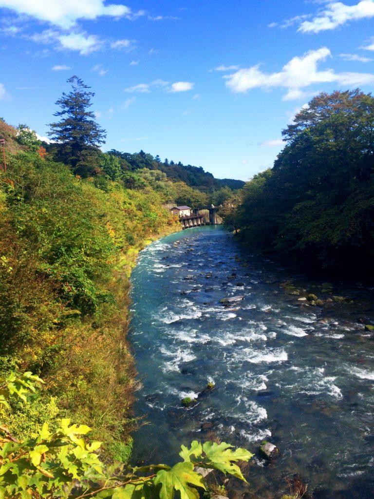 日光駅そばを流れる大谷川