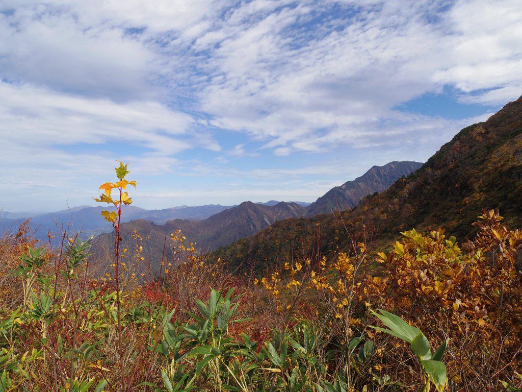 八海山の紅葉と青空