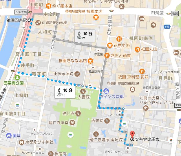 安井金比羅宮への地図