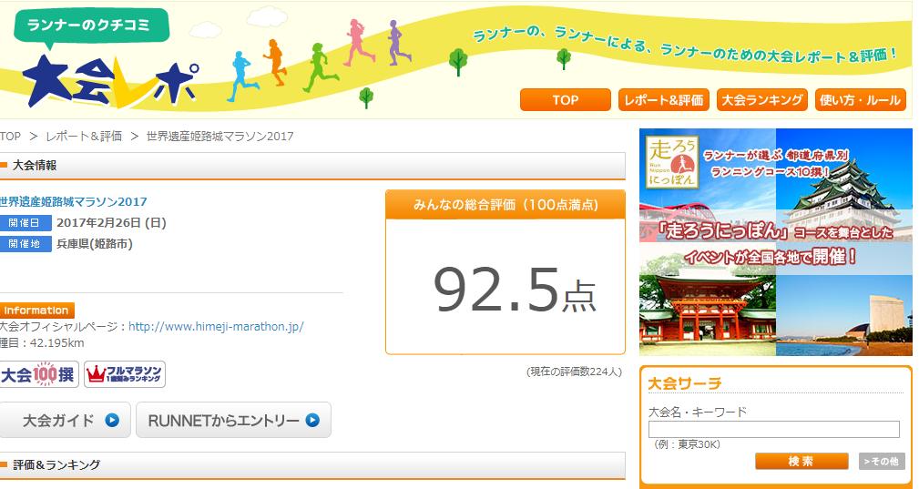 姫路マラソン大会レポート
