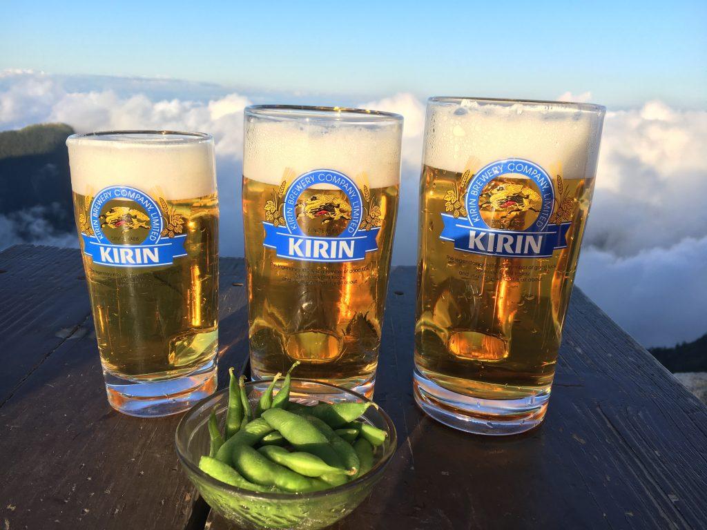 雲海とビール
