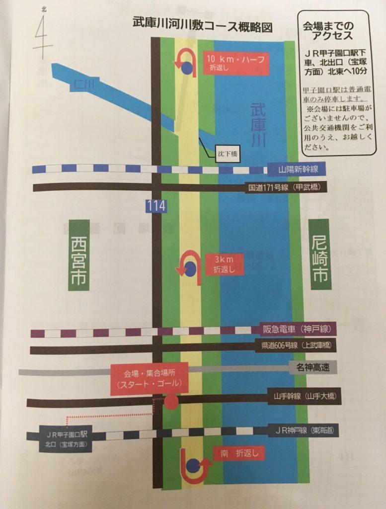 武庫川河川敷コース概略図
