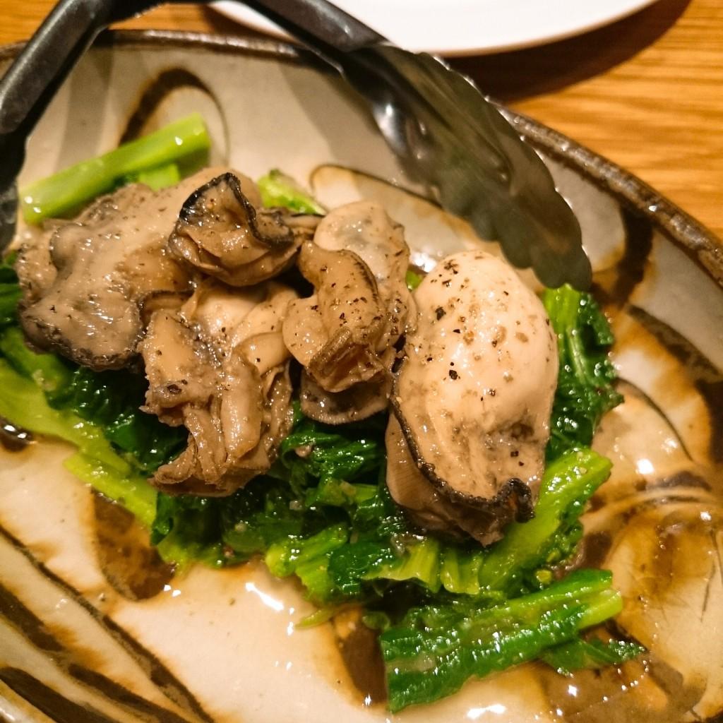 牡蠣のオイル漬けと菜の花