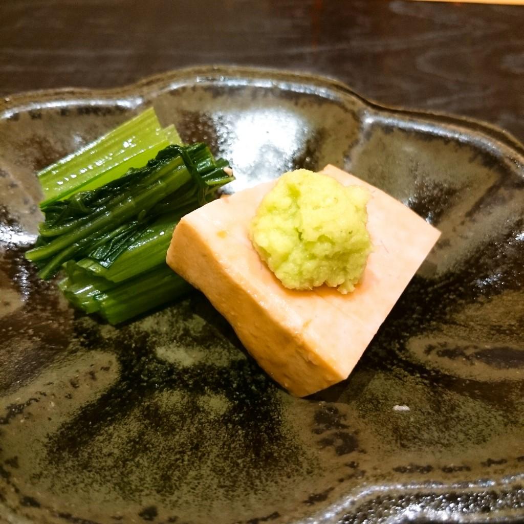 小松菜のおひたしとあん胆