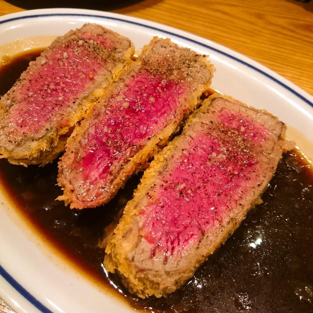 牛ひれ肉のレアカツ