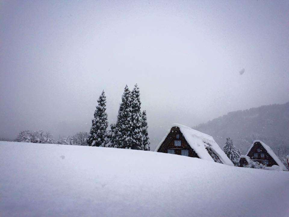 雪に埋もれる民家