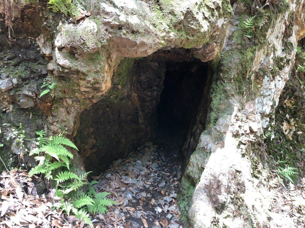 間歩試掘跡の穴