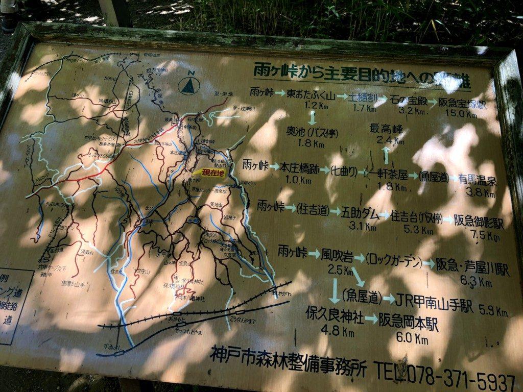 雨ヶ峠から主要目的地への距離