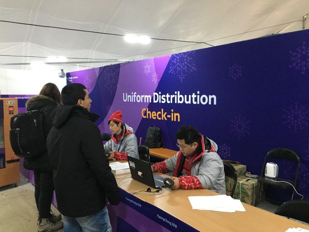 平昌オリンピックのボランティアチェックイン