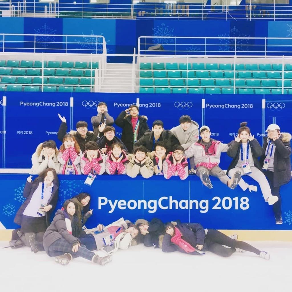 平昌オリンピックのボランティア記念撮影