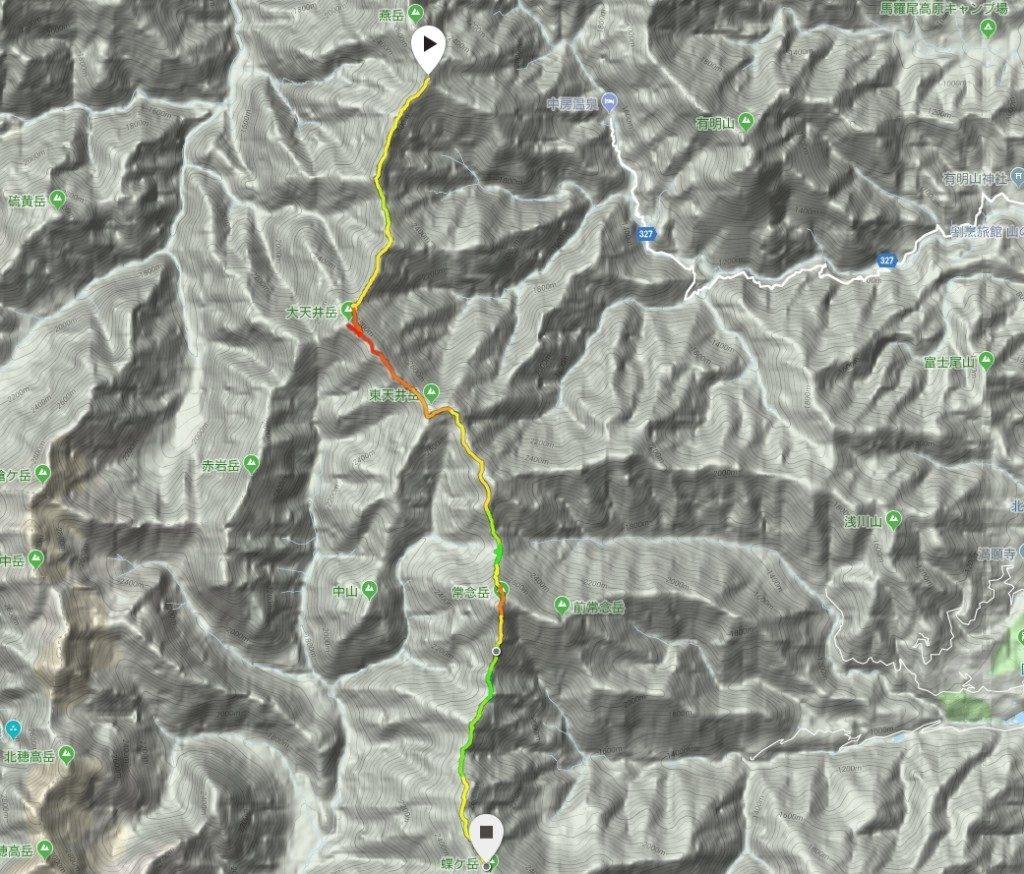 燕山荘から蝶ヶ岳ヒュッテコース図