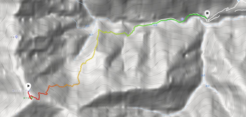 蝶ヶ岳から三股登山口のGPSマップ