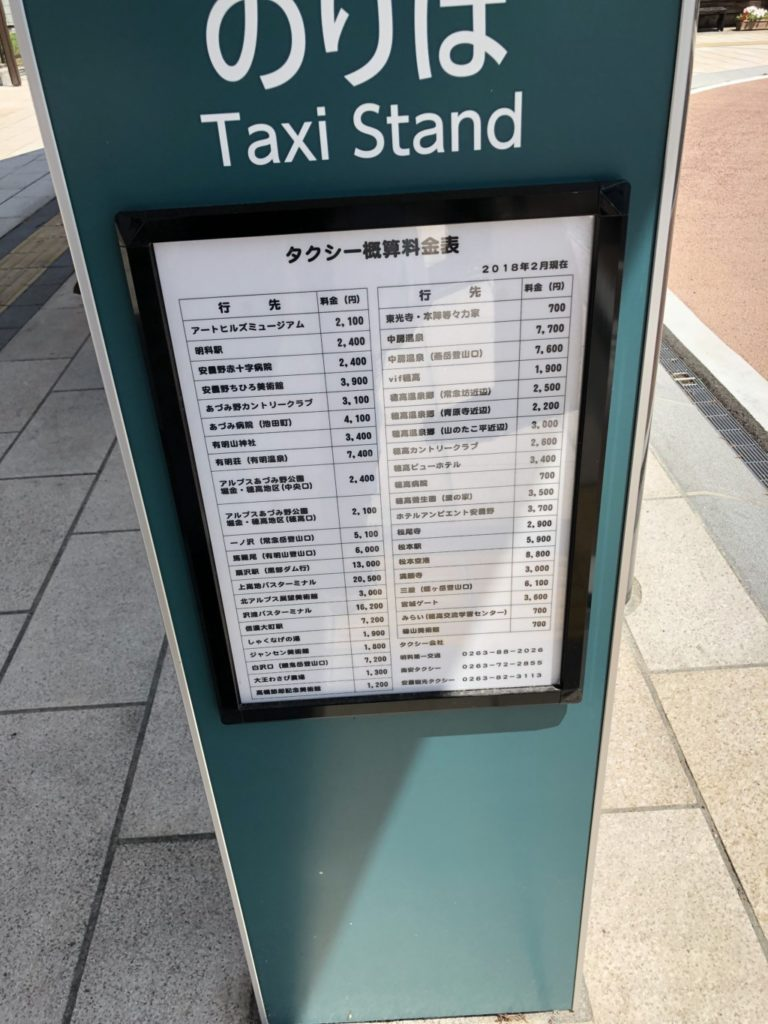 穂高駅タクシー乗り場