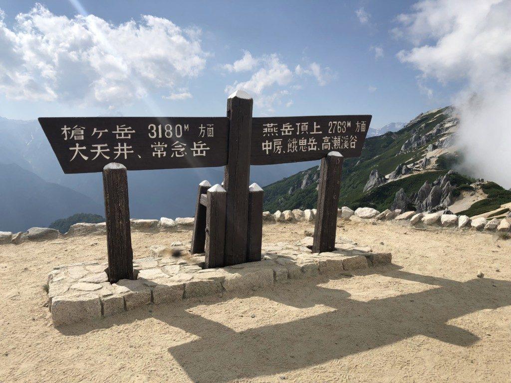 燕山荘の標識