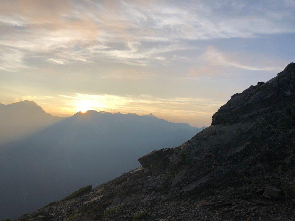蝶ヶ岳の夕陽