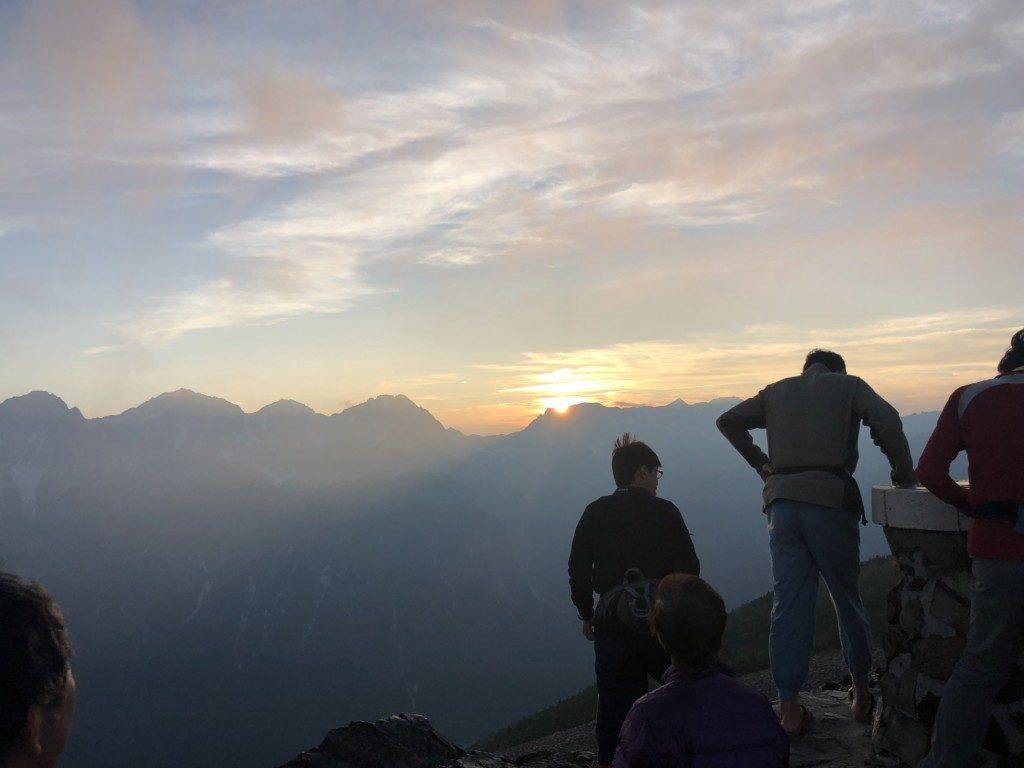 蝶ヶ岳の夕陽その2