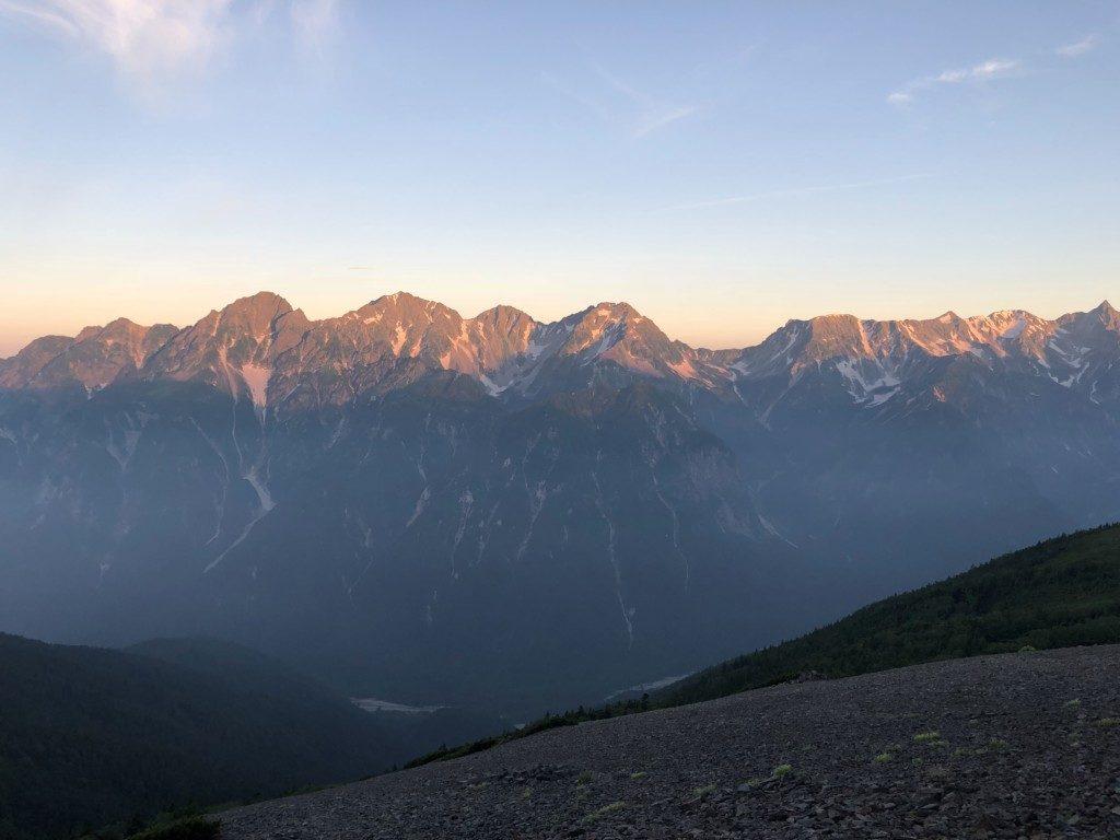 北穂高岳と夕陽