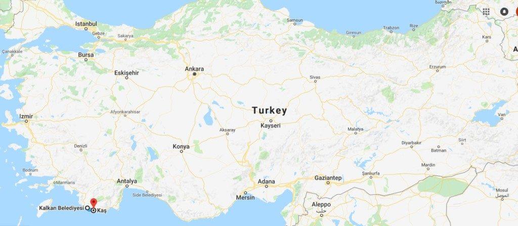 西トルコの地図