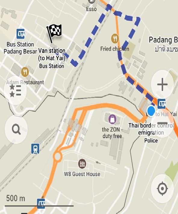 バン乗り場までの地図